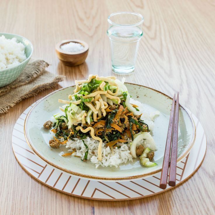My Food Bag - Nadia Lim - Recipes - Lemongrass and Ginger Pork with Rice and Crispy Noodle Salad