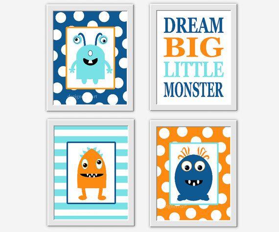 Baby Boy Nursery Art Monster Navy Blue Orange Teal Aqua Dream Big Little Monster Polka Dots Stripes Toddler Boy Room Art Baby Nursery Decor