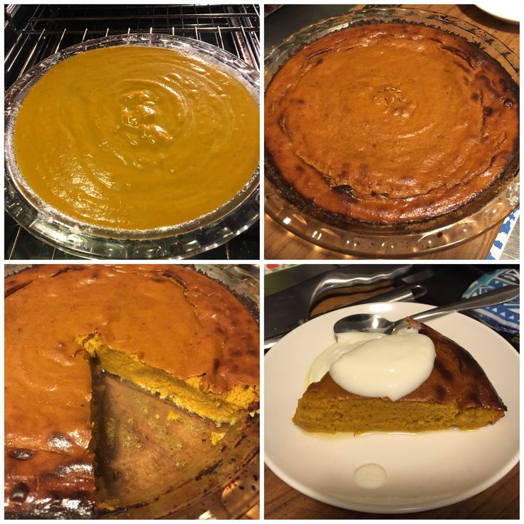 Crustless Pumpkin Pie: Bake whole pumpkin till caramelised (doesn't matter which type. Once cooked scoop out pumpkin- approx. 1.5cups) Ingredients- 250ml light carnation milk, 1/4 cup organic maple syrup, 2 tbls coconut flour, 1 Tbls imitation vanilla essence, 2 eggs, 1 tbls pumpkin spice, 1 tbls turmeric latte spice. Bake for 30-40min on 180degrees Celsius till middle is solid.