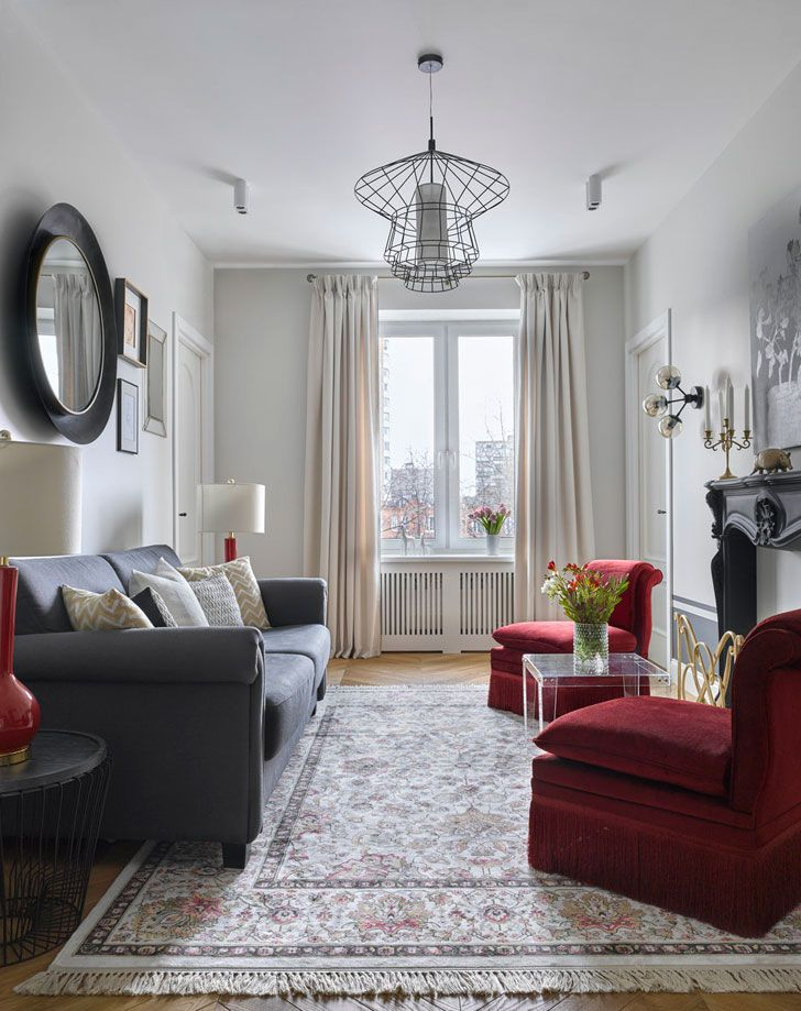 Simple but elegant (see more of the home) #moscow #russia #decorator #home #designer #design #decor #living #room #white #walls #red #chair #rug