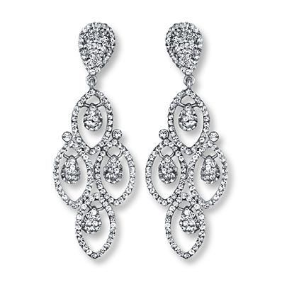 Chandelier Earrings White Crystals Sterling Silver