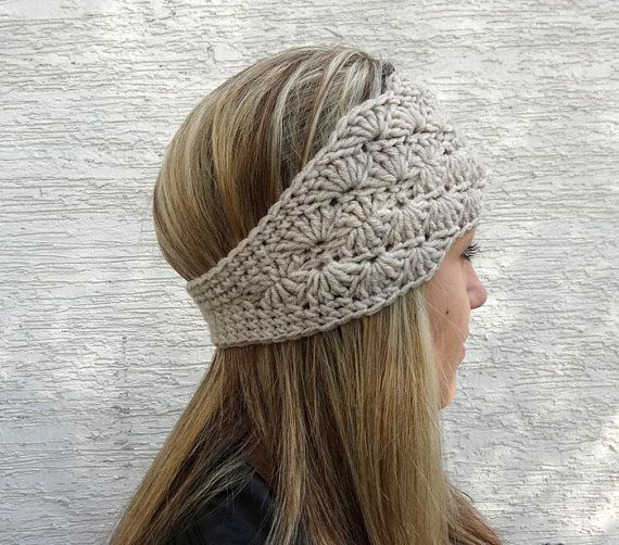 Crochet Ear Warmer, Headband, Womens Winter Headband, Earwarmer, Oatmeal Crochet Headband, Button Closure