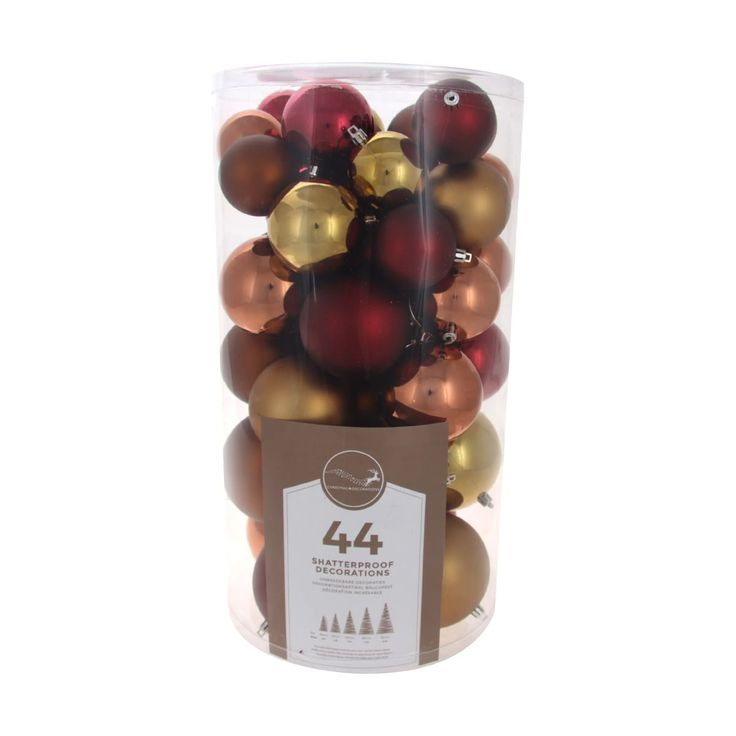 Large shatterproof Christmas baubles traditional mix