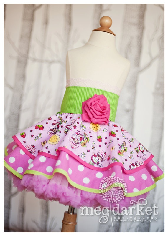 Strawberry Shortcake Inspired Dress Up Apron by rossandrosiedesigns