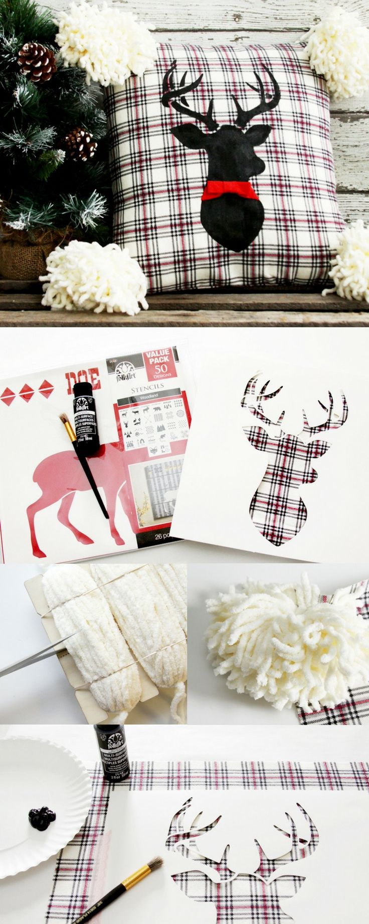 DIY painted pillow and how to make your own yarn pom poms! Easy decorative stenciled pillow cover  tutorial - fun farmhouse plaid with deer for Christmas or change it up for any time of the year with another stencil. #diypillow #christmas