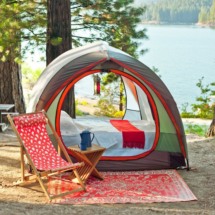 The best way to make camp feel luxurious? An air mattress, like the Coleman Quickbed ($193; coleman.com) with built-in pump (use an adapter for your car's power outlet). The REI Kingdom 4 Tent ($389;