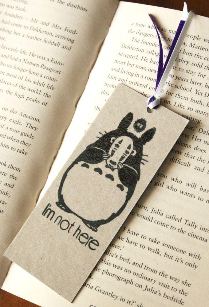 Totoro Spirited Away Bookmark Studio Ghibli Japanese Animation Hand-Stamped Gift