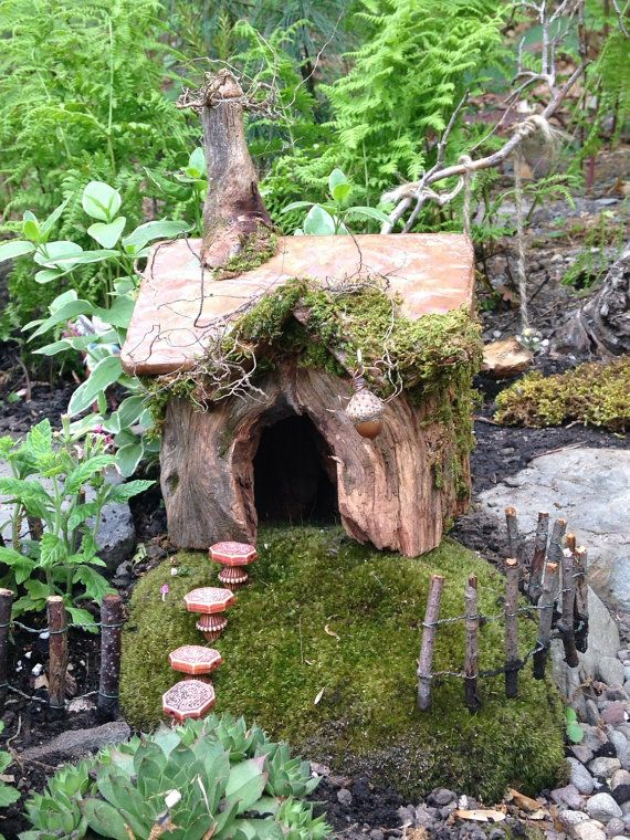 Woodsy Fairy Garden House With Chimney, Copper Roof, Moss