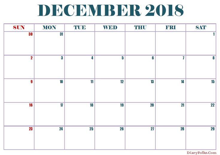 December 2018 Calendar In Excel #DecemberCalendar