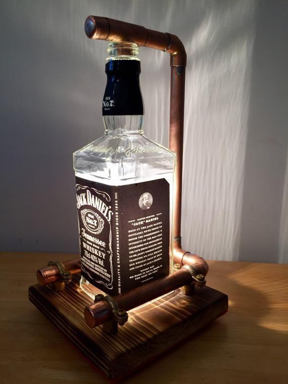 Hand Made Jack Daniels Lamp Steampunk Copper Bottle Lamp Table Lamp Vintage Retro Led Gift Bottle Lamp Steampunk Lamp Jack Daniels Lamp