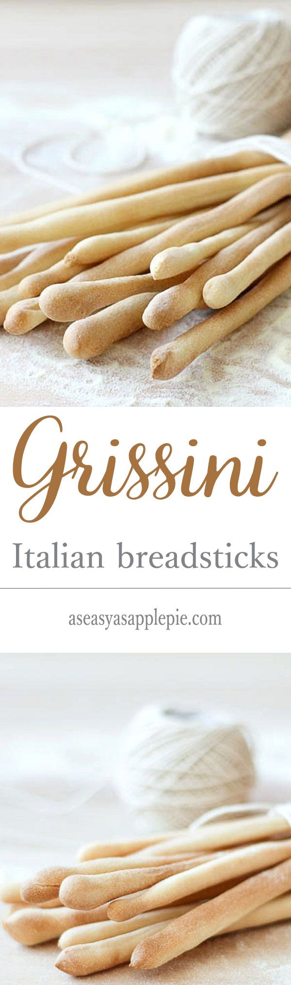 Grissini are crunchy Italian breadsticks with a rustic, uneven appearance