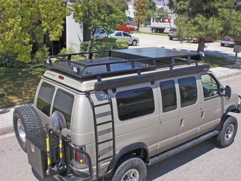 Aluminum Off Road Roof Rack and Ladder for a Ford Econoline Van