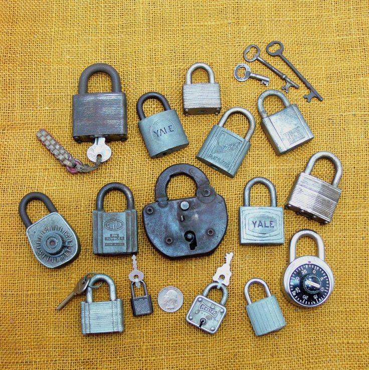 Vintage lock lot-old lock collection-antique skeleton keys-vintage master lock-old slaymaker lock-old padlock-yale lock-old combination lock by BECKSRELICS on Etsy
