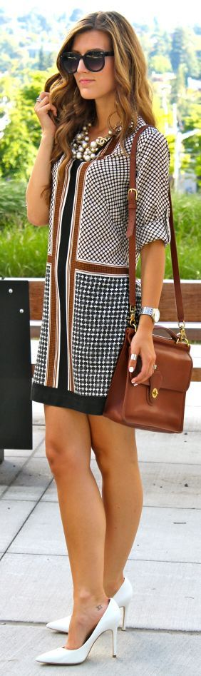 Ann Taylor Multi Houndstooth Stripe Straight Mini Dress by Chic Street Style