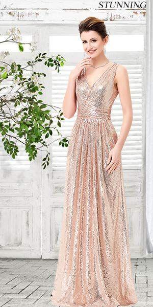 2d1a4c3de74f Kate Kasin Cocktail Sleeveless Deep V Neck Long Pary Dresses Rose Gold Size  2 KK199 at Amazon Women s Clothing store