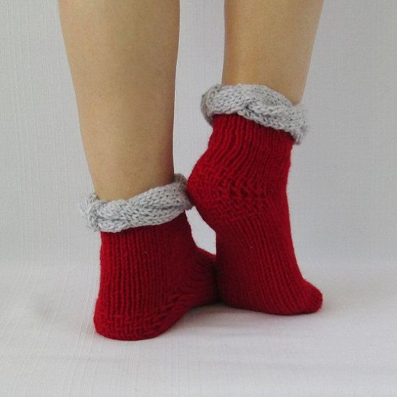 Red socks KNIT SOCKS wool rustic socks hand knit от mymomsshop1