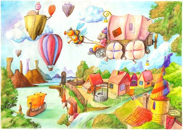 Watercolor illustration by Levente Kocsis Dream landscape, fairy tale #watercolor #fairytale #illustration