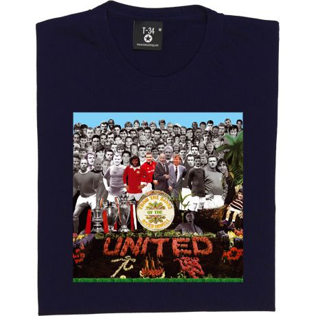 Featuring dozens of the greatest players to have graced the Old Trafford pitch, from Billy Meridith to our modern day stars via legends of the 50s, 60s, 70s, 80s and 90s. We have parodies the famous Beatles Sergeant Pepper's album cover with Fergie, Sir Matt, Eric Cantona and George Best taking centre stage in full colour. Aside from famous players, you will also find the treble trophies, Sir Matt Busby's and the Holy Trinity statue and the MUFC stickman and red devil in amongst the f...