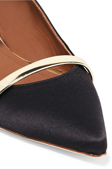 Malone Souliers - Maureen Metallic Leather-trimmed Satin Point-toe Flats - Black - IT40.5