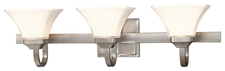 "Minka Lavery Agilis 6813-84 Glass Reversible 3-LT 300w (8""H x 32""W) Vanity Lighting in Nickel"