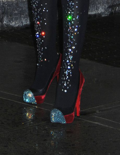 """Christina Aguilera Photos Photos - Christina Aguilera wearing sparkly tights and a leather one-piece seen leaving the """"Late Show with David Letterman"""" on a rainy day in NYC. - Celebrities at the """"Late Show With David Lettermen"""""""