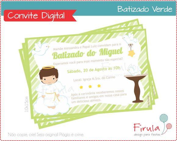 Convite Digital Batizado Verde | Firula Festas | Elo7