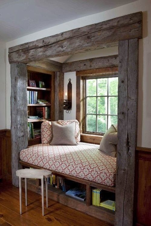 built in reading area with reclaimed rustic wood and daybed