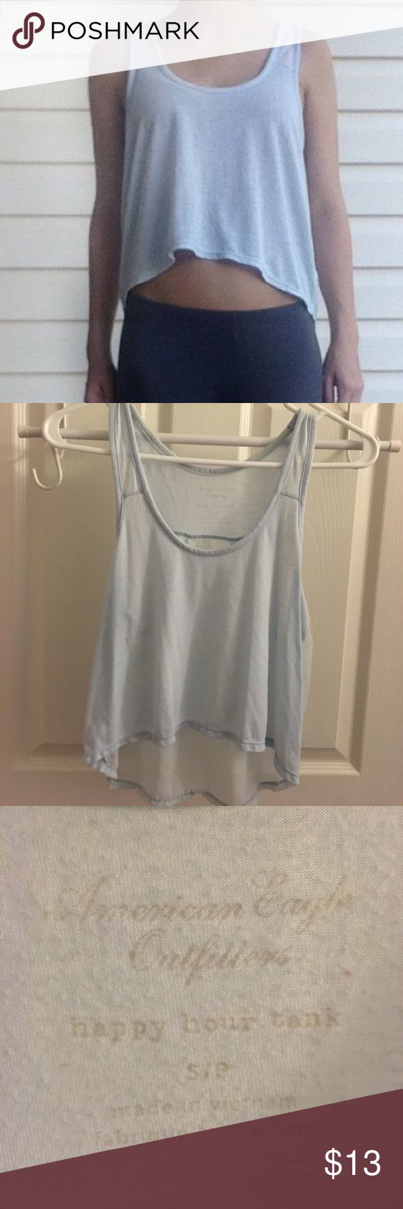💙AMERICAN EAGLE OUTFITTERS Happy Hour Tank Small 💙AMERICAN EAGLE OUTFITTERS Happy Hour Tank Size: Small 💙 Note: Sheer in the back. Great with a bralette underneath 👍🏻 American Eagle Outfitters Tops Tank Tops