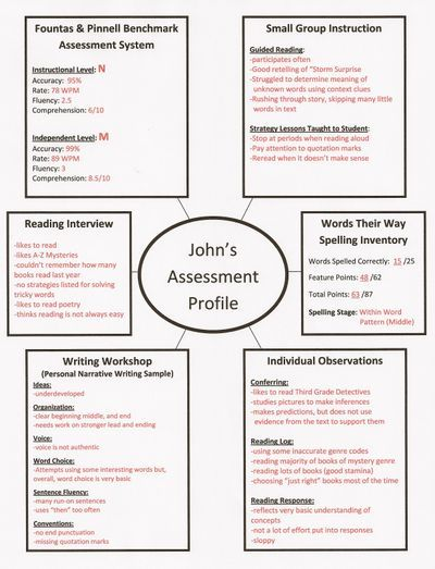 Assessment web // Organizes information from F, guided reading, writing, spelling, etc.  Great for conferences!