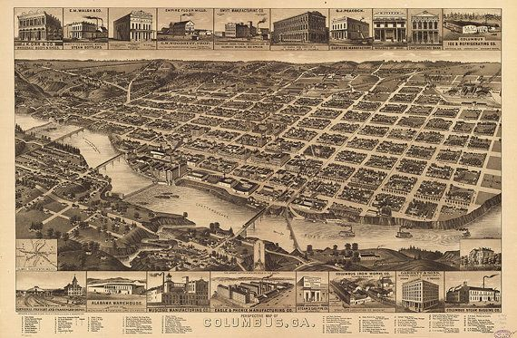 Columbus, Georgia, Ga., county seat of Muscogee County Reproduction Vintage Map.  1886