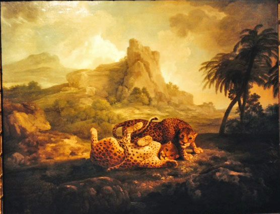 "Tygers at Play by Stubbs (leopards were traditionally classed as among the ""tygers"") is due to be sold at Sotheby's on 9 July. The idea of portraying wild beasts not as savage and frightening but playful was new in the 1770s when this was painted. It foreshadows much Victorian sentimentality in animal art, but the Stubbs's picture is not heavy with sentiment: just delightful. Yours for +/- £5 million."