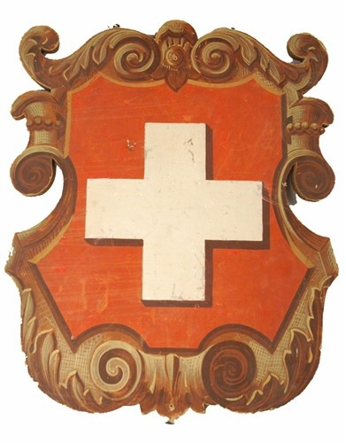 Large Antique Swiss Folk Art Painting of Helevetica Shield - $180.