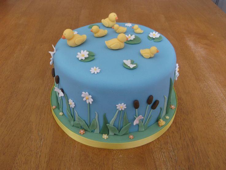 Duck pond cake x www.facebook.com/fireflycakes