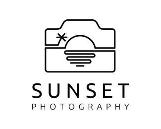 Sunset Photography Logo - Logo is combination of camera and sunset view. This logo can be used for art & photography, travel company, outdoor or adventure company, creative services, entertainment & media, and any related business. Price $400.00