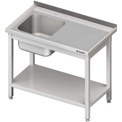 Stół ze zlewem 1-komorowym(l), z półką skręcany meble nierdzewne