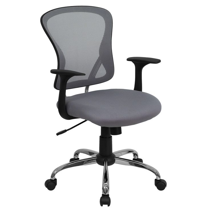 Flash Furniture Mid-Back Office Chair with Chrome Finished Base grey black mid-back best affordable office chair
