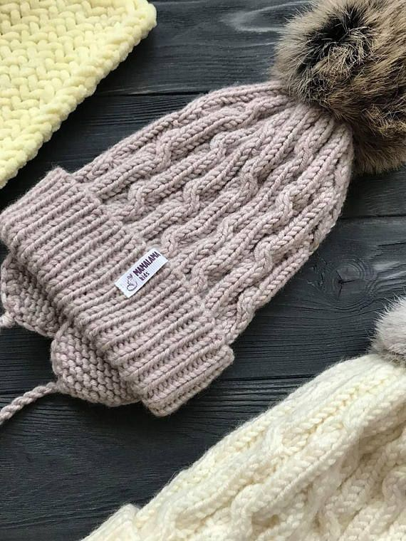 10cb9c87c89 Beige Baby hat earflaps Pom Pom Winter Merino wool hat Newborn Modern  Organic hat Baby shower gift Preemie Neutral hat Cable Bobble knit hat
