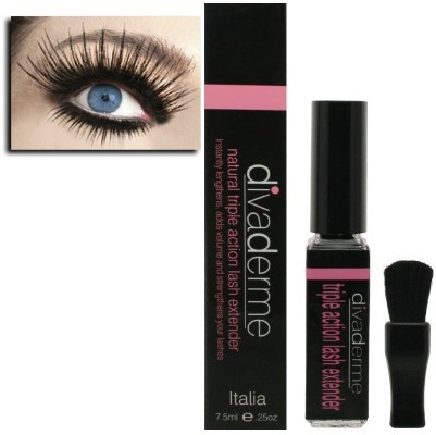 I have been using this for about 3 months now and it is awesome!!!!!!!  I have thin short lashes even with mascara but brushing these lash extender fibers in- between the coats of mascara adds double the thickness and length :)))) I swear by this stuff!!! DermaPoise.com - Divaderme Lash Extender with Brush