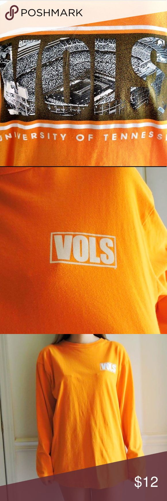 GO VOLS Awesome and comfortable long sleeve shirt for the University of Tennessee at Knoxville, my school! I have so much orange in my closet, I need to get rid of some! This is for a true Vol fan, as it has Neyland Stadium on the back! Says Large but it will also fit a small/medium! Tops Tees - Long Sleeve