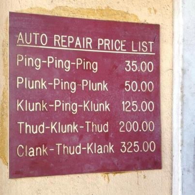 Estimated Auto Repair Bill by the sound of your car's engine.