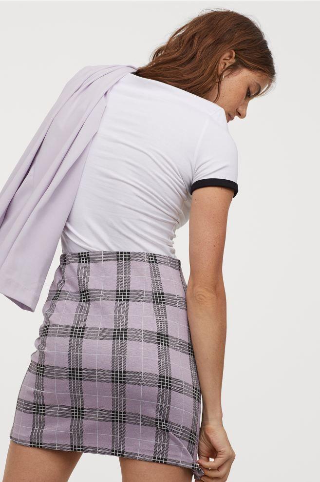 Kurzer Jerseyrock Helllila Kariert Ladies H M De In 2020 Hm Outfits Jerseyrock Modestil