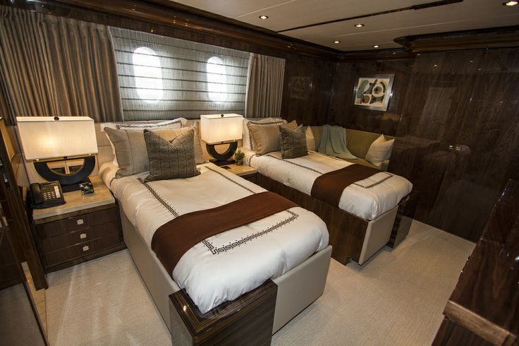 One of the guest cabins onboard Gigi II - the beds can be pushed together into a King.