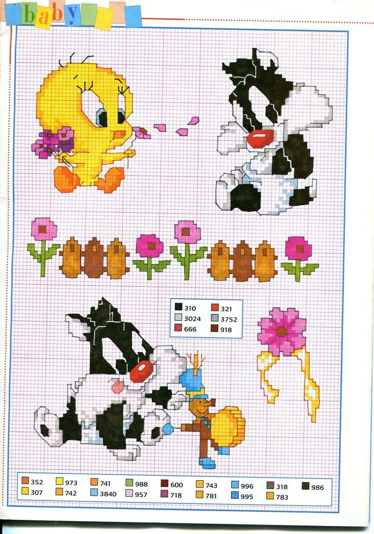 Titti e gatto silvestro schema punto croce - magiedifilo.it punto croce uncinetto schemi gratis hobby creativi