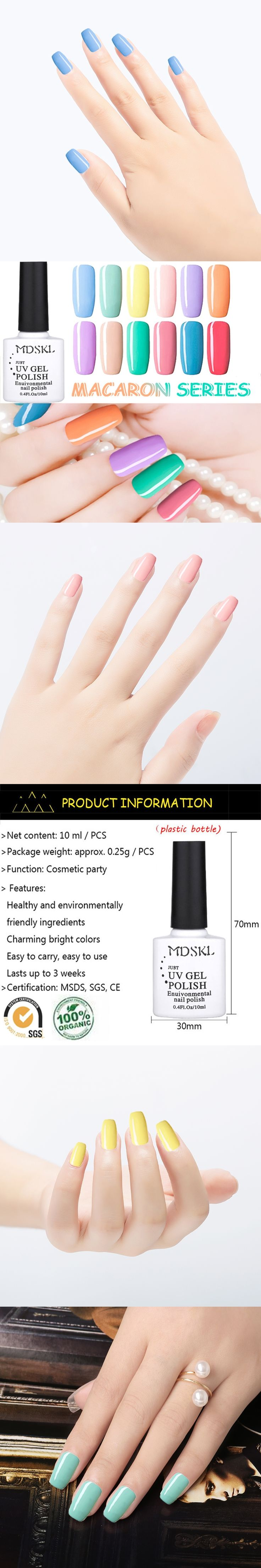 MDSKL New Fashion UV Gel Nail Polish from 12Macaron Colors Varnish Lacquer Gel Top Base Necessary Nail Art Paint 10ml