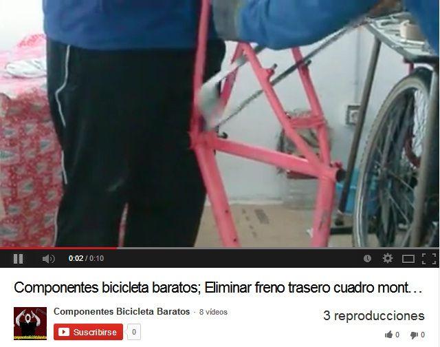 Eliminar freno trasero de cuadro de montaña para transformar a fixie. Propiedad de componentes bicicleta baratos en Zaragoza.