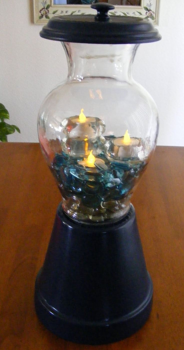 Diy make a clay pot lighthouse diy craft projects - Ever Since We Had Nicole From Crafty Soccer Mom On Bacon Time Share Her Adorable Gumball Holder Diy Project I Have Been Wanting To Try M