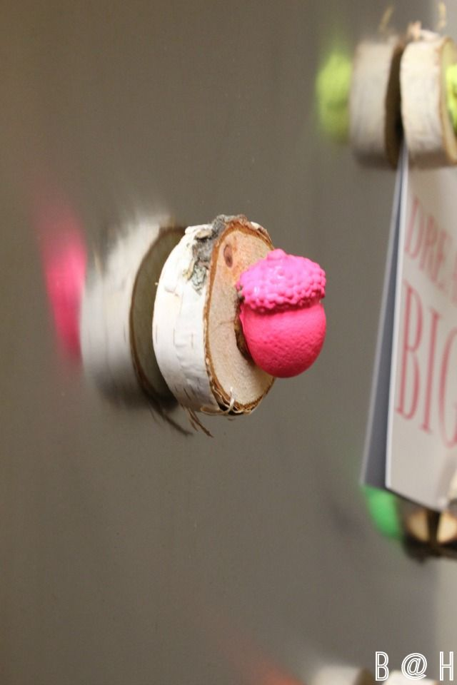 DIY Acorn Magnets | a fun and modern twist on fall with neon!