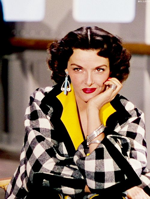 "Jane Russell in ""Gentlemen prefer Blondes"" (1953). Love this outfit! 50s black and white plaid coat jacket yellow accent color photo portrait movie star hair earrings"