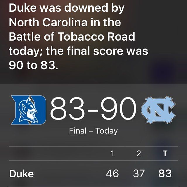 My score prediction was off by three but @unc_basketball still pulled off an amazing win against @dukembb. #NorthCarolina #Tarheels #GoHeels