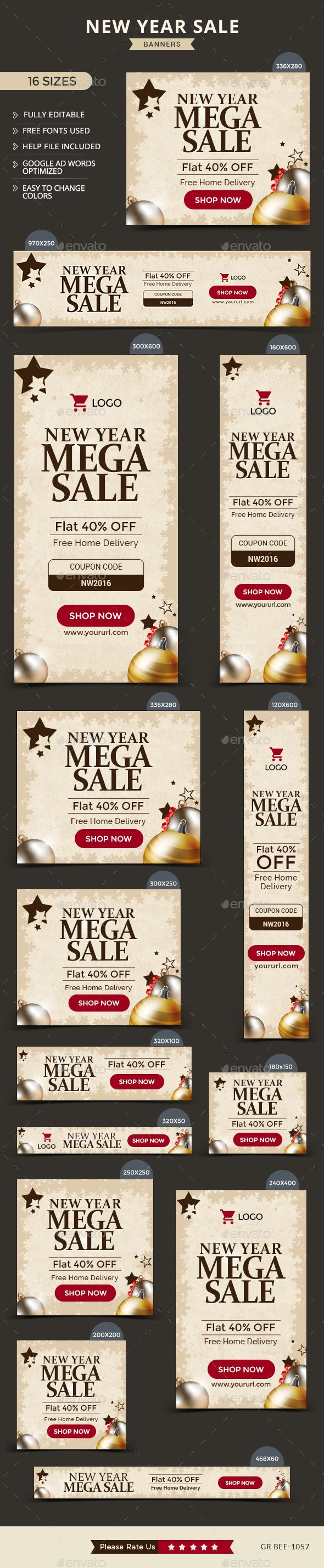 New Year Sale Web Banners Template PSD #design #ad #promote Download: http://graphicriver.net/item/new-year-sale-banners/14196255?ref=ksioks